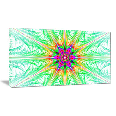 Designart Green Fractal Stained Glass Abstract Canvas Wall Art