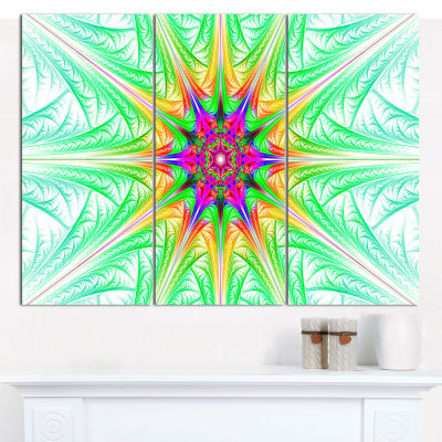 Designart Green Fractal Stained Glass Abstract Canvas Wall Art - 3 Panels