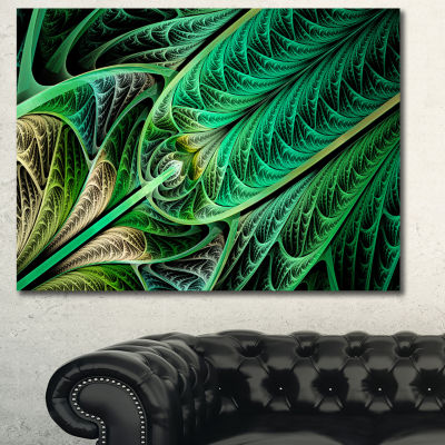 Designart Green On Black Fractal Stained Glass Abstract Canvas Wall Art