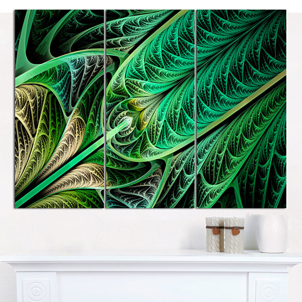 Designart Green On Black Fractal Stained Glass Abstract Canvas Wall Art - 3 Panels