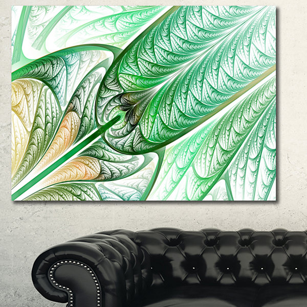 Designart Green On White Fractal Stained Glass Abstract Canvas Wall Art