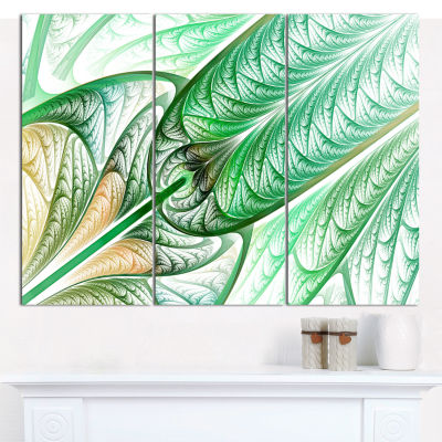 Design Art Green On White Fractal Stained Glass Abstract Canvas Wall Art - 3 Panels