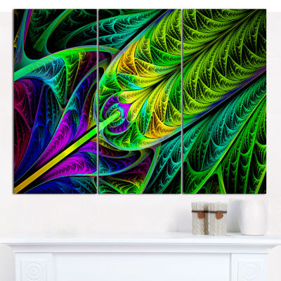 Design Art Green Stained Glass Texture Abstract Canvas Wall Art - 3 Panels