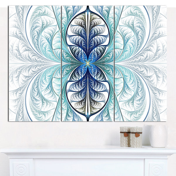 Designart Light Blue Stained Glass Texture Abstract Canvas Wall Art - 3 Panels