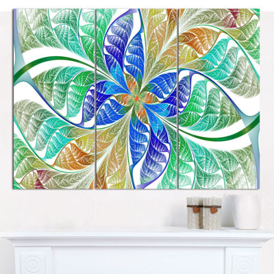 Designart Light Blue Fractal Stained Glass Abstract Canvas Wall Art - 3 Panels