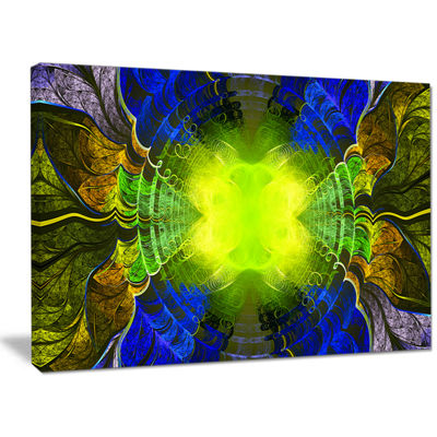 Designart Green Golden Fractal Stained Glass Abstract Canvas Wall Art