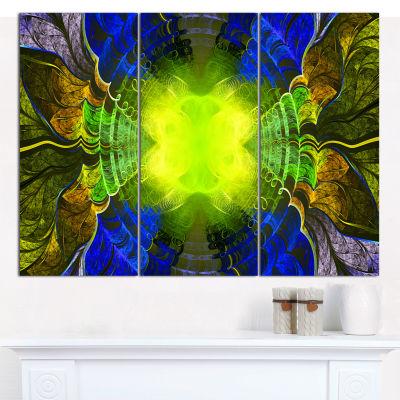 Designart Green Golden Fractal Stained Glass Abstract Canvas Wall Art - 3 Panels