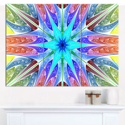 Designart Multi Color Pink Fractal Stained GlassAbstract Canvas Wall Art - 3 Panels
