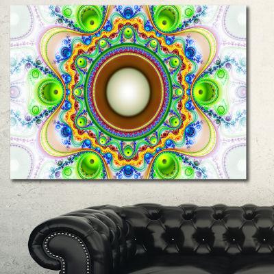 Designart Green Fractal Circles And Waves AbstractCanvas Wall Art
