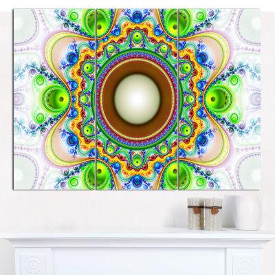 Designart Green Fractal Circles And Waves AbstractCanvas Wall Art - 3 Panels
