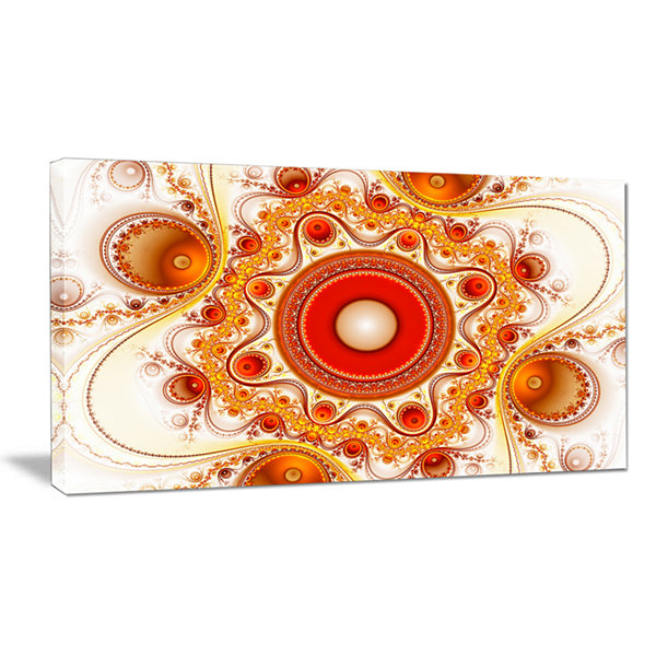 Designart Orange Fractal Pattern With Circles Abstract Canvas Wall Art
