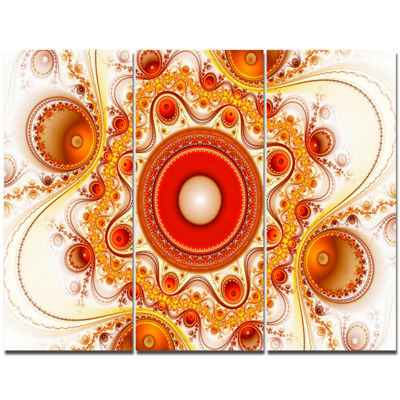 Designart Orange Fractal Pattern With Circles Abstract Canvas Wall Art - 3 Panels