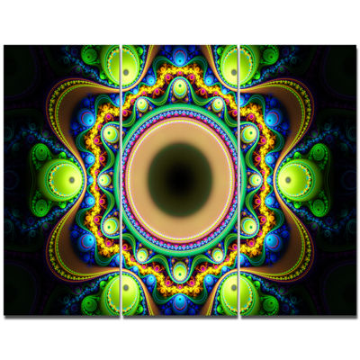 Designart Green Fractal Pattern With Circles Abstract Canvas Wall Art - 3 Panels