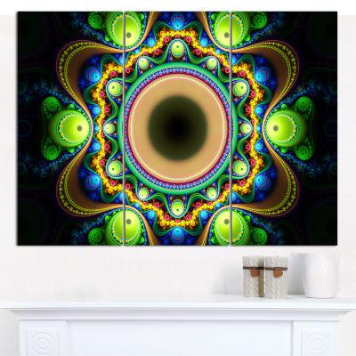 Designart Green Fractal Pattern With Circles Abstract Canvas Wall Art - 3 Panels