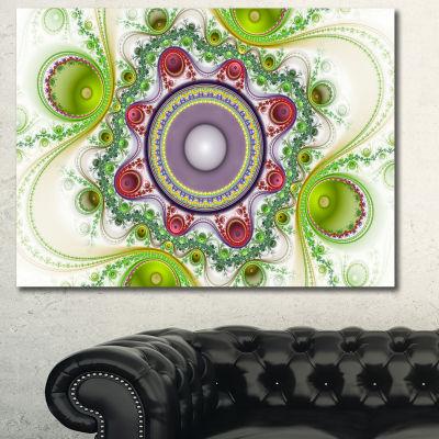 Designart Light Green Pattern With Circles Abstract Canvas Wall Art