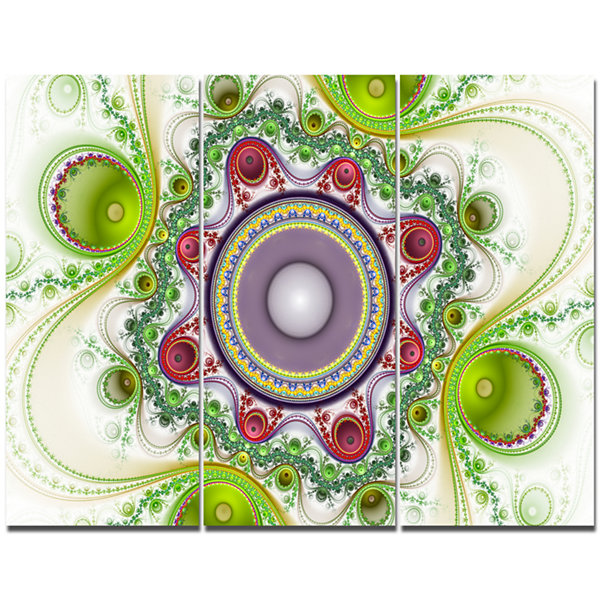 Designart Light Green Pattern With Circles Abstract Canvas Wall Art - 3 Panels