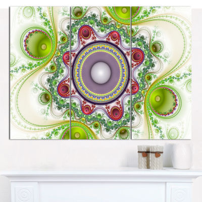 Design Art Light Green Pattern With Circles Abstract Canvas Wall Art - 3 Panels