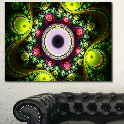 Designart Green On Black Pattern With Circles Abstract Canvas Wall Art