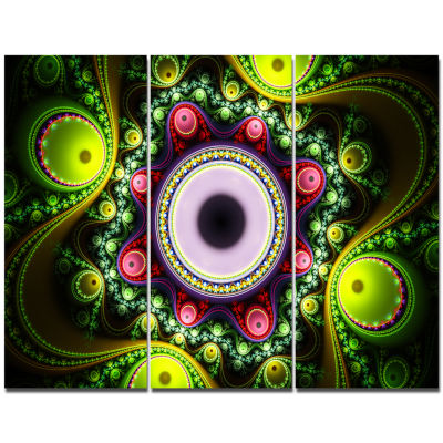 Designart Green On Black Pattern With Circles Abstract Canvas Wall Art - 3 Panels