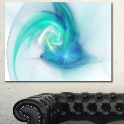Designart Light Blue Fractal Abstract Texture Abstract Canvas Wall Art