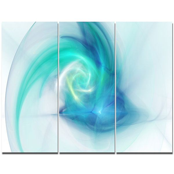 Design Art Light Blue Fractal Abstract Texture Abstract Canvas Wall Art - 3 Panels