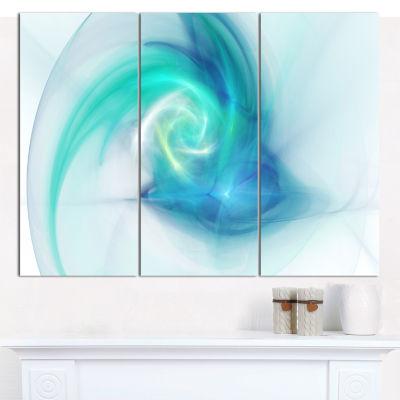 Designart Light Blue Fractal Abstract Texture Abstract Canvas Wall Art - 3 Panels