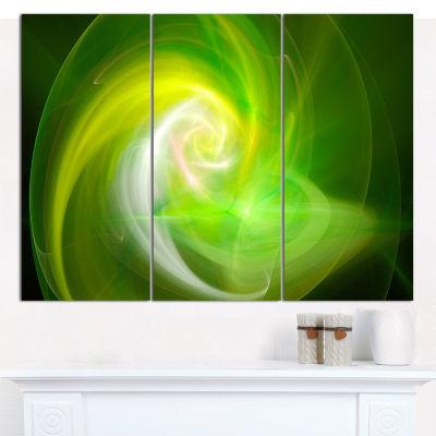 Designart Green Fractal Abstract Illustration Canvas Wall Art - 3 Panels