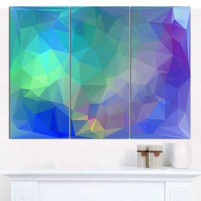 Designart Light Blue Polygonal Mosaic Pattern Abstract Canvas Wall Art - 3 Panels