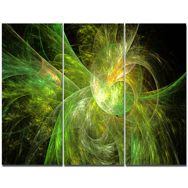 Designart Green On Black Fractal Illustration Abstract Canvas Wall Art - 3 Panels