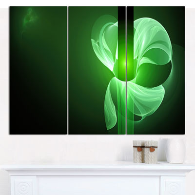 Designart Green Flower Fractal Illustration Abstract Canvas Wall Art - 3 Panels