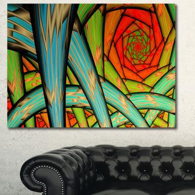 Designart Green Fractal Endless Tunnel Abstract Canvas Wall Art