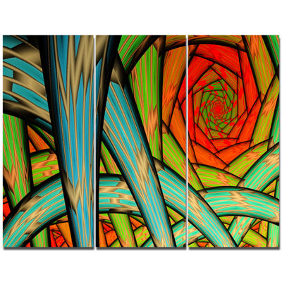 Designart Green Fractal Endless Tunnel Abstract Canvas Wall Art - 3 Panels