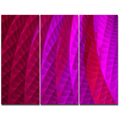 Designart Layered Pink Psychedelic Design AbstractCanvas Wall Art - 3 Panels