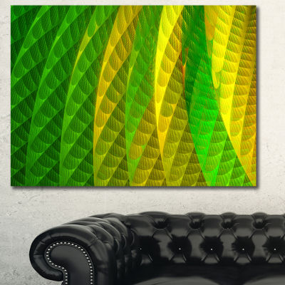 Designart Layered Green Psychedelic Design Abstract Canvas Wall Art