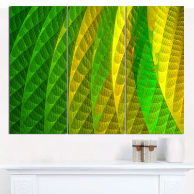 Designart Layered Green Psychedelic Design Abstract Canvas Wall Art - 3 Panels