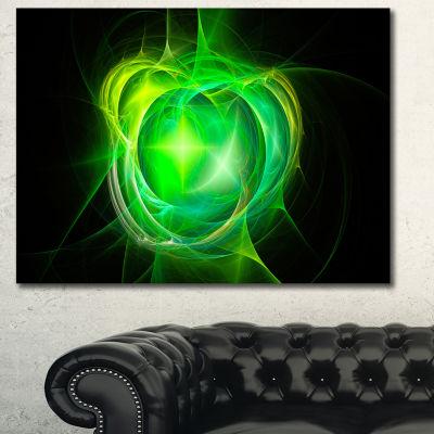 Designart Green Fractal Explosion Supernova Abstract Canvas Wall Art