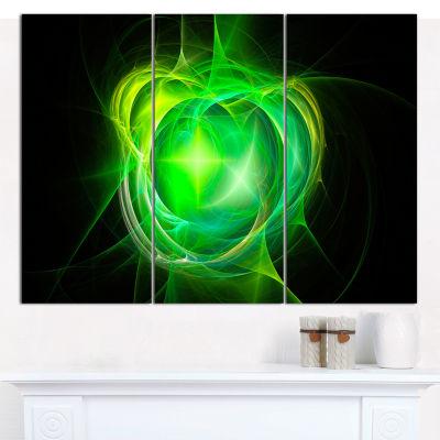 Designart Green Fractal Explosion Supernova Abstract Canvas Wall Art - 3 Panels