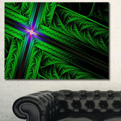 Designart Green Fractal Cross Design Abstract Canvas Wall Art
