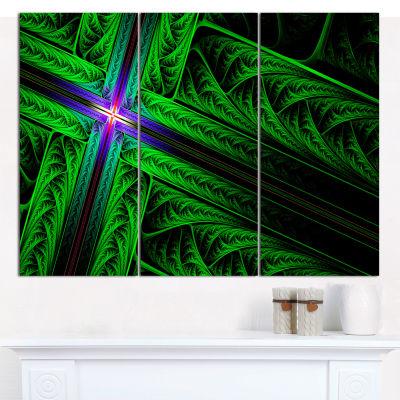 Designart Green Fractal Cross Design Abstract Canvas Wall Art - 3 Panels