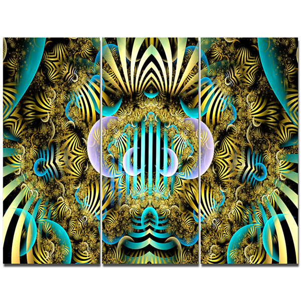 Design Art Magical Fairy Pattern Brown Abstract Canvas Wall Art - 3 Panels