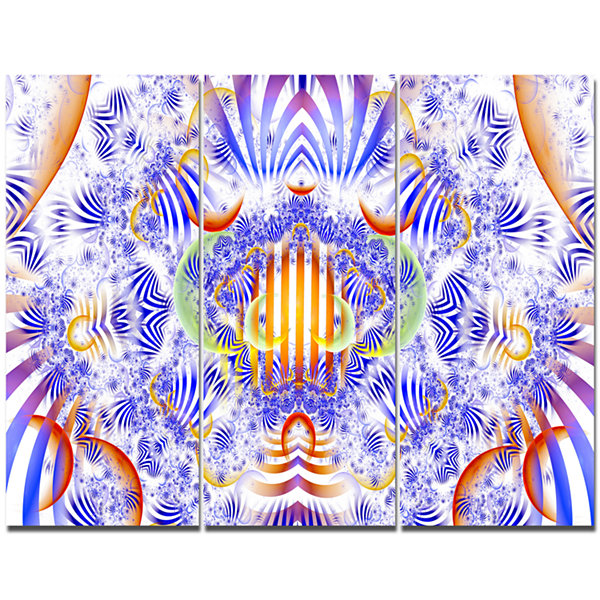 Designart Magical Fairy Pattern Blue Abstract Canvas Wall Art - 3 Panels