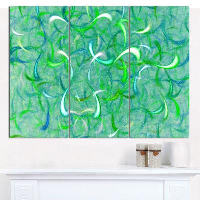 Designart Green Watercolor Fractal Pattern Abstract Canvas Wall Art - 3 Panels