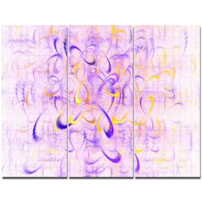 Designart Light Purple Watercolor Fractal Art Abstract Canvas Wall Art - 3 Panels
