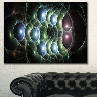 Designart Light Blue 3D Surreal Circles Abstract Canvas Wall Art