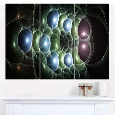 Designart Light Blue 3D Surreal Circles AbstractCanvas Wall Art - 3 Panels