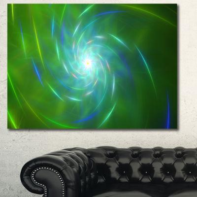Designart Green Fractal Whirlpool Design AbstractCanvas Wall Art