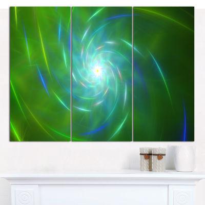 Designart Green Fractal Whirlpool Design AbstractCanvas Wall Art - 3 Panels