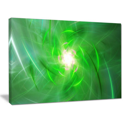 Designart Light Green Fractal Whirlpool Abstract Canvas Wall Art