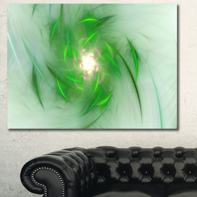 Designart Green On White Fractal Whirlpool Abstract Canvas Wall Art