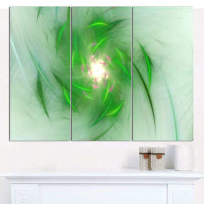 Designart Green On White Fractal Whirlpool Abstract Canvas Wall Art - 3 Panels